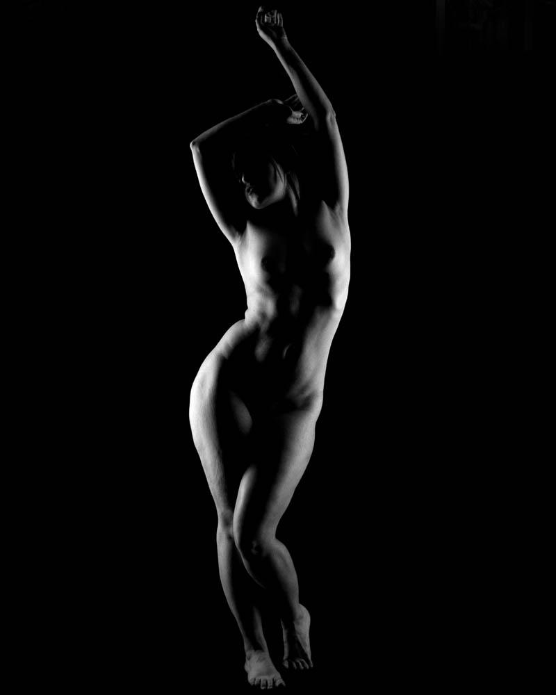 Desnudo sombras esquemas de iluminacion con dos flashes